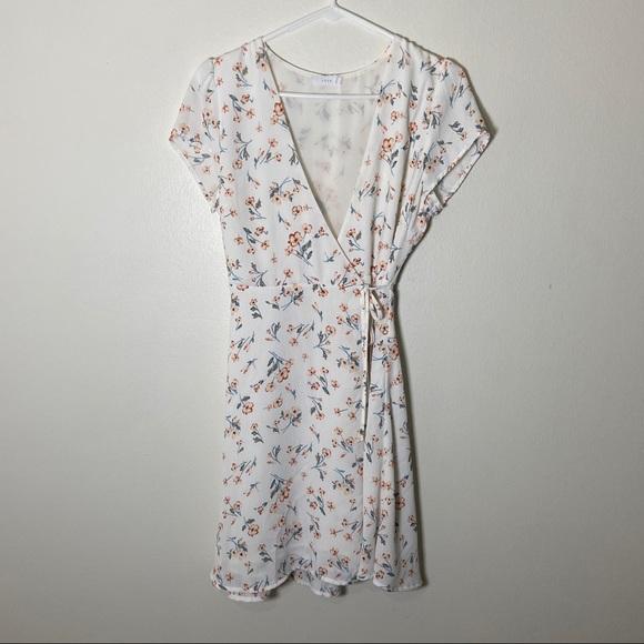 Lush Dresses & Skirts - Lush white Floral Wrap Mini Dress